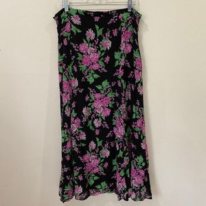 JONES NY 100% Silk Floral A-Line Maxi Skirt Sz 16